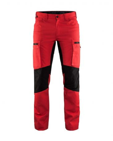 Blaklader 1459 Stretch Service Trousers - 65% Polyester/35% Cotton (Red/Black)